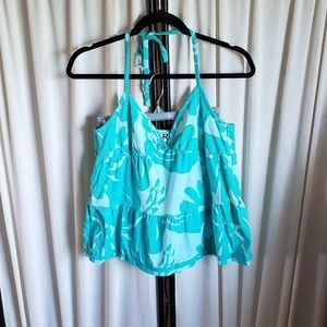 Roxy L triangle tie back light blue & aqua top